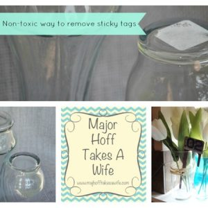 Non toxic easy way to remove sticky tags off of glass