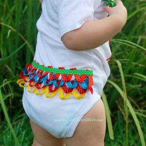 """The """"Beribboned"""" bottom onesie! DIY Tutorial for ribbon loops."""