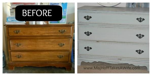 Chalk Paint 3 drawer dresser BeforeAfter