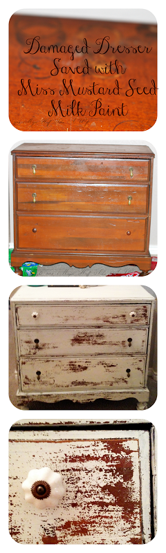 Damaged Dresser saved with Miss Mustard Seed Milk Paint