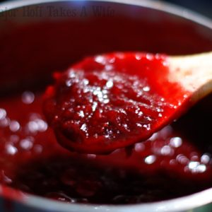 cooking homemade cranberry sauce on the stovetop