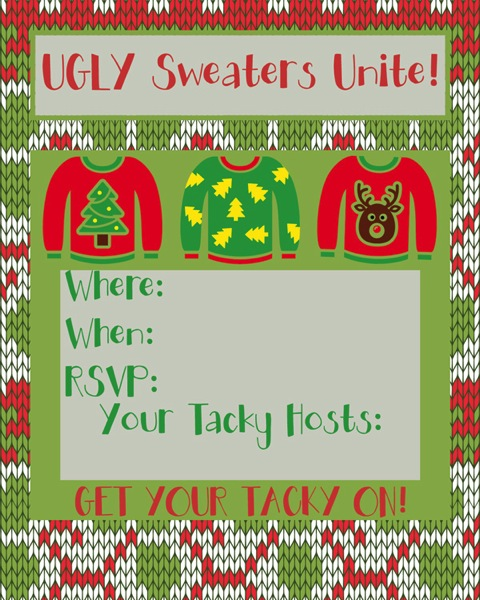Ugly Sweater Party Time Free Printable Invites and More Major