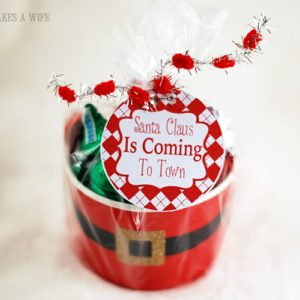 Santa belly gift basket wrapped up with candy included