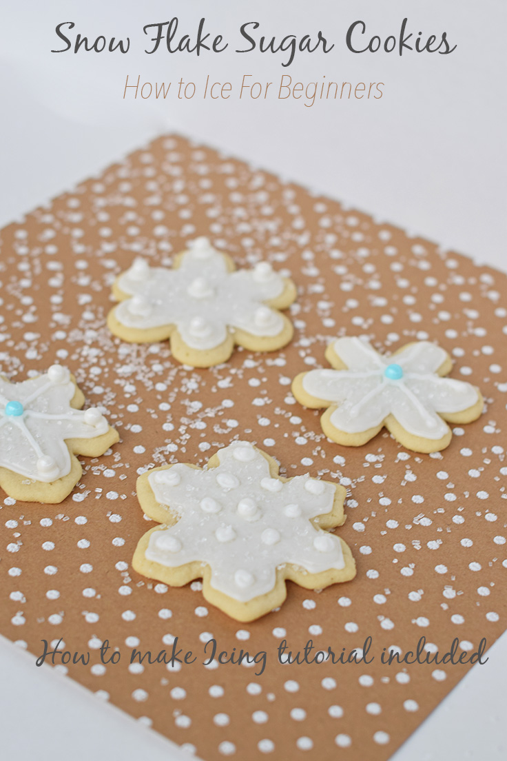 How to ice and frost sugar cookie snowflakes for beginners.