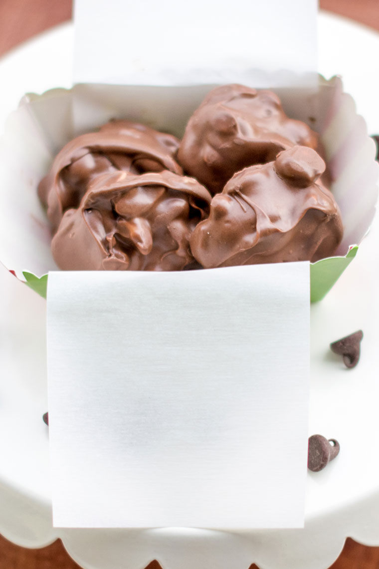 Chocolate peanut clusters are one of the easiest holiday recipes to make and give as a gift!