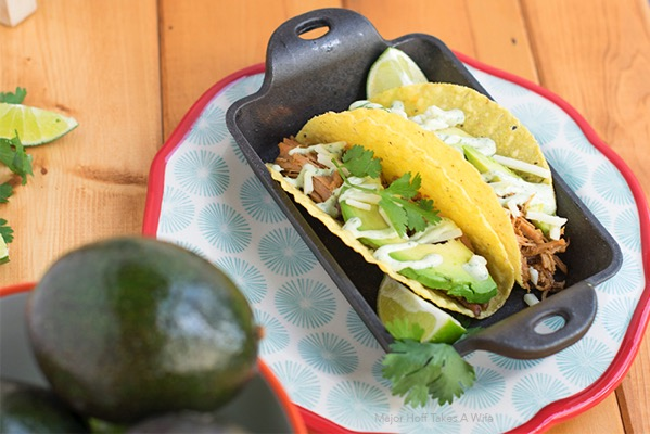 Avocados make great toppings for pork tacos