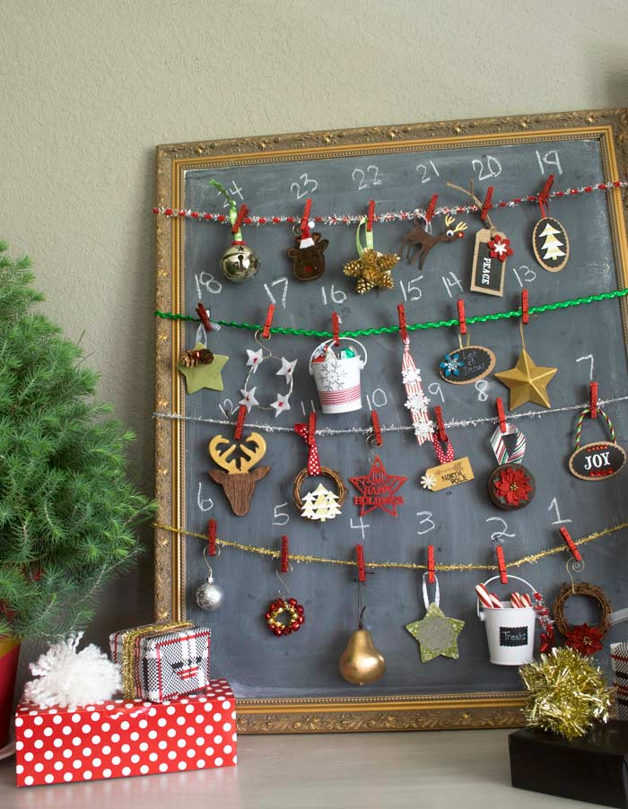 Christmas gifts and 24 homemade ornaments for a unique advent calendar