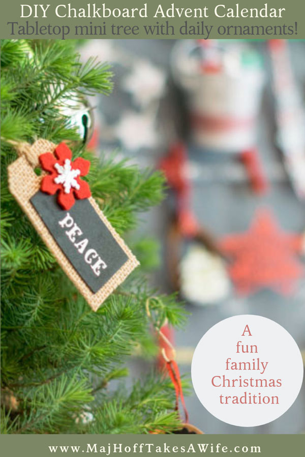 See how easy it is to create a fun and unusual advent calendar that kids love! This easy to create DIY homemade advent calendar uses a simple table top tree, a chalkboard frame, and ornaments! Use standard ornaments, homemade ornaments, or free printables- the choice is yours! One of the our families favorite Christmas ideas to count down the holiday season!