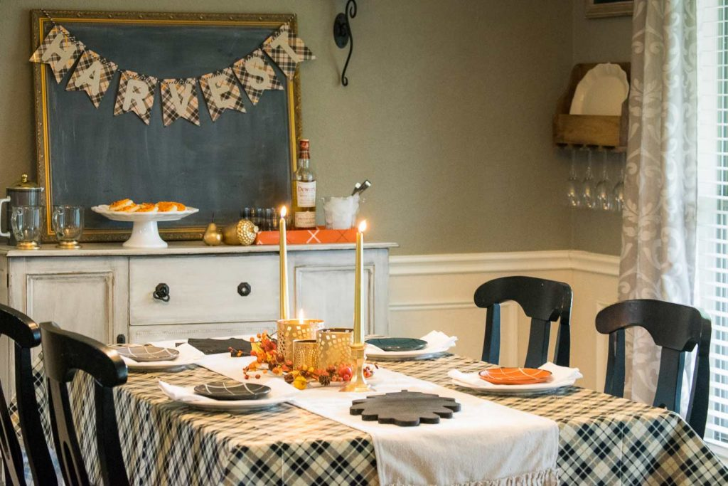 Harvest banner, gold colors and plaid table settings