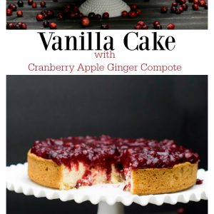 Vanilla Cake with cranberry apple ginger compote