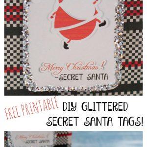 Printable Glittered Secret Santa Gift Tags