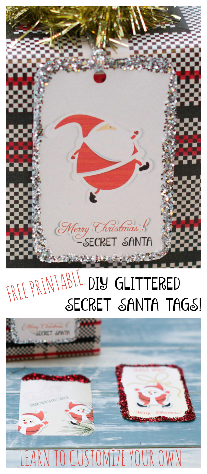 Printable glittered secret santa gift tags major hoff for Fun secret santa gifts
