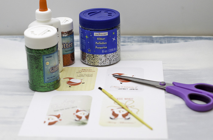 Glittered Secret Santa gift tags Supplies