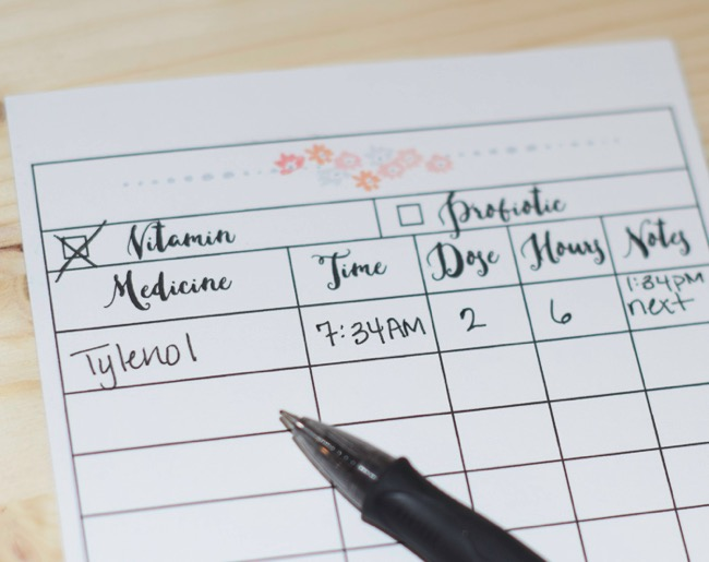 Printable medicine dose chart