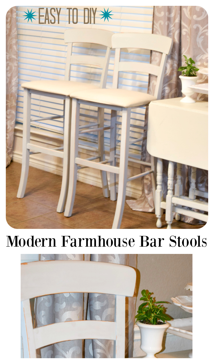 Modern Farm House Barstools. Itching to try a mineral, chalk and water based paint? Try this simple DIY to turn ordinary bar stools into stunning pieces for that modern farmhouse look. #sp f