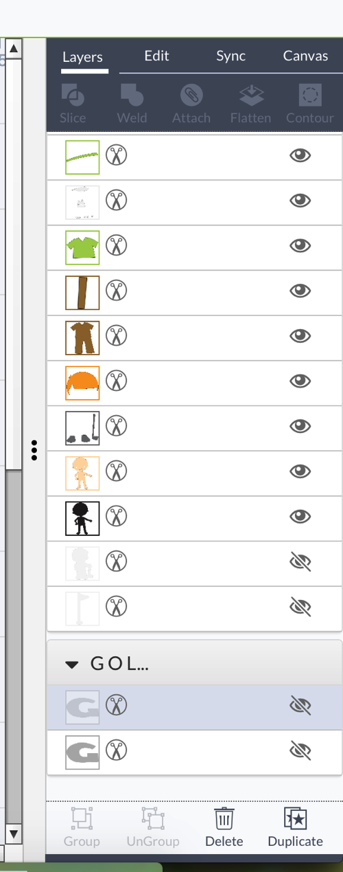 Layers option in cricut design space