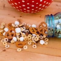 Cheerio trail mix with marshmallows, pretzels, and chocolate chips