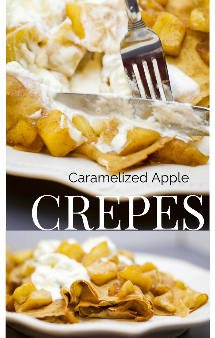 Caramelized Apple Crepe Recipe. These caramelized apple crepes are perfect for fall. Featuring in season apples, cinnamon, ginger, cloves and nutmeg they leave your house smelling amazing. Using pre-made crepes cuts down on the mess and work time.