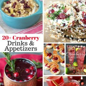 20 Plus Cranberry Drinks and Appetizers