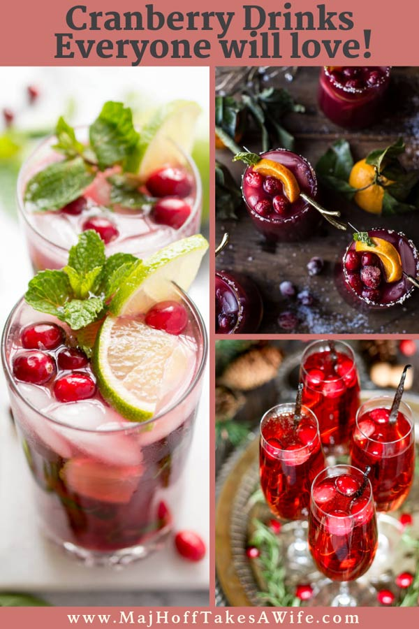 This collection of cranberry drinks covers ALL the drinks you'll want for Thanksgiving and Christmas! Features some with alcohol or with nonalcoholic twists. Wow your guests with these fabulous colorful drinks with everything from vodka to rum to Moscow mules - hot and warm- cold and fresh - from cockatils to tea! So grab the recipes and some ginger ale, and let's start mixing it up! #christmascocktails #Thanksgivingcocktails #Christmas #cranberrydrink