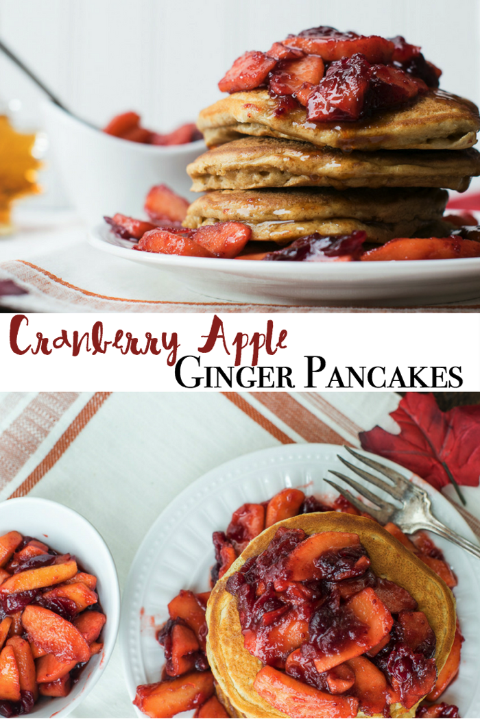 Cranberry Apple Ginger Pancakes for a holiday breakfast or a simple brunch. Easy to follow recipe!