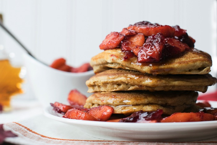 Gingerbread pancakes with cranberry apple compote.