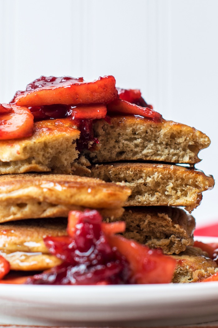 Holiday pancake recipe : Ginger pancakes with apple cranberry topping.