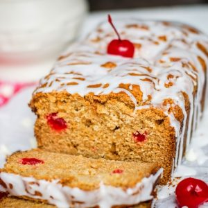 White Chocolate Cherry Eggnog Quick Bread