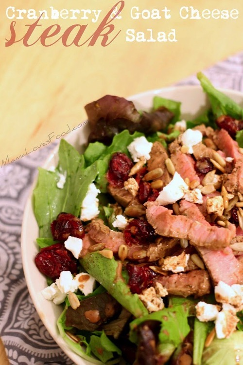 Cranberry and goat cheese steak salad
