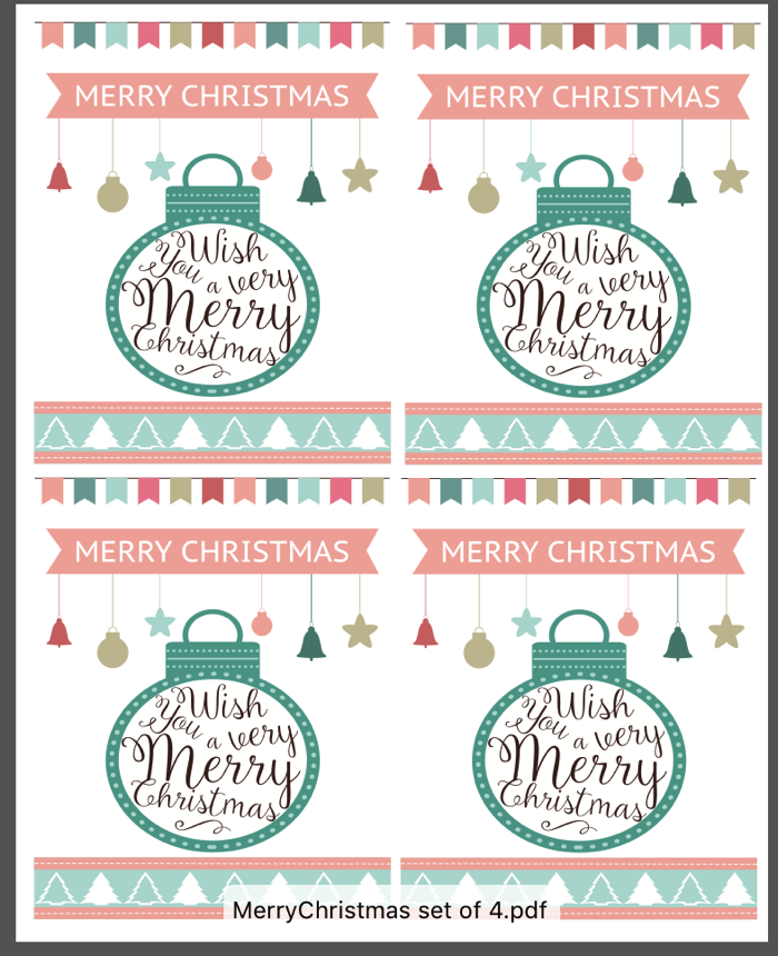 Set of 4 Printable Merry Christmas Cards for Cookie Plates