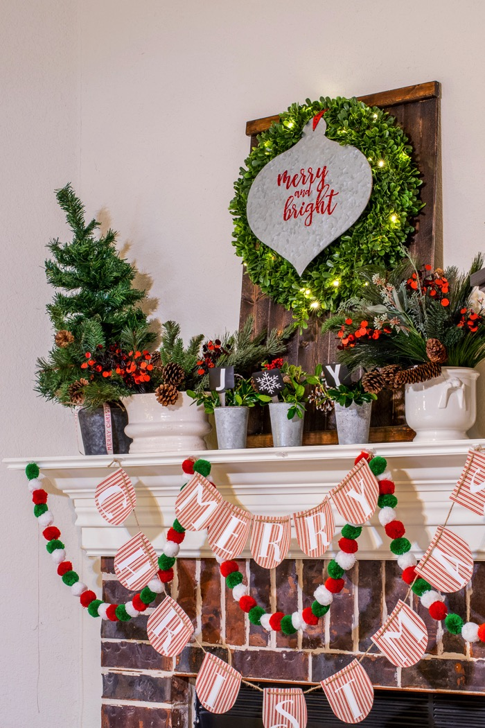 Fixer Upper Inspired Holiday mantel