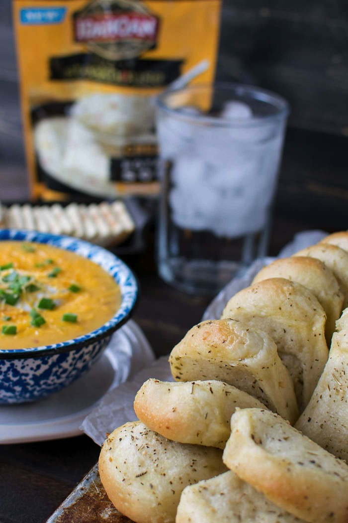 pull apart bread paired with soup for a comfort food style dinner