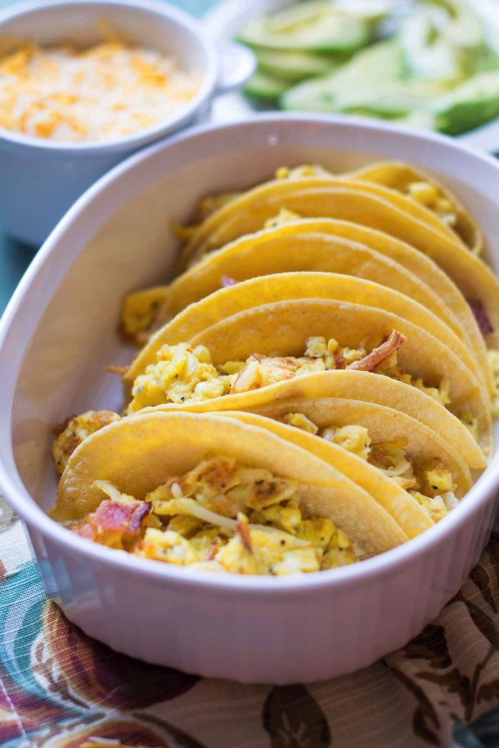 Potato Bacon and Egg Breakfast Tacos