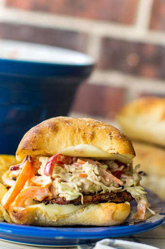 Grilled Pork Tenderloin Sandwiches with Balsamic Bell Pepper Coleslaw