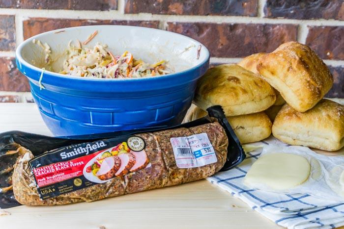 Grilled PorkTenderloin Sandwich with Balsamic Pepper Coleslaw 125