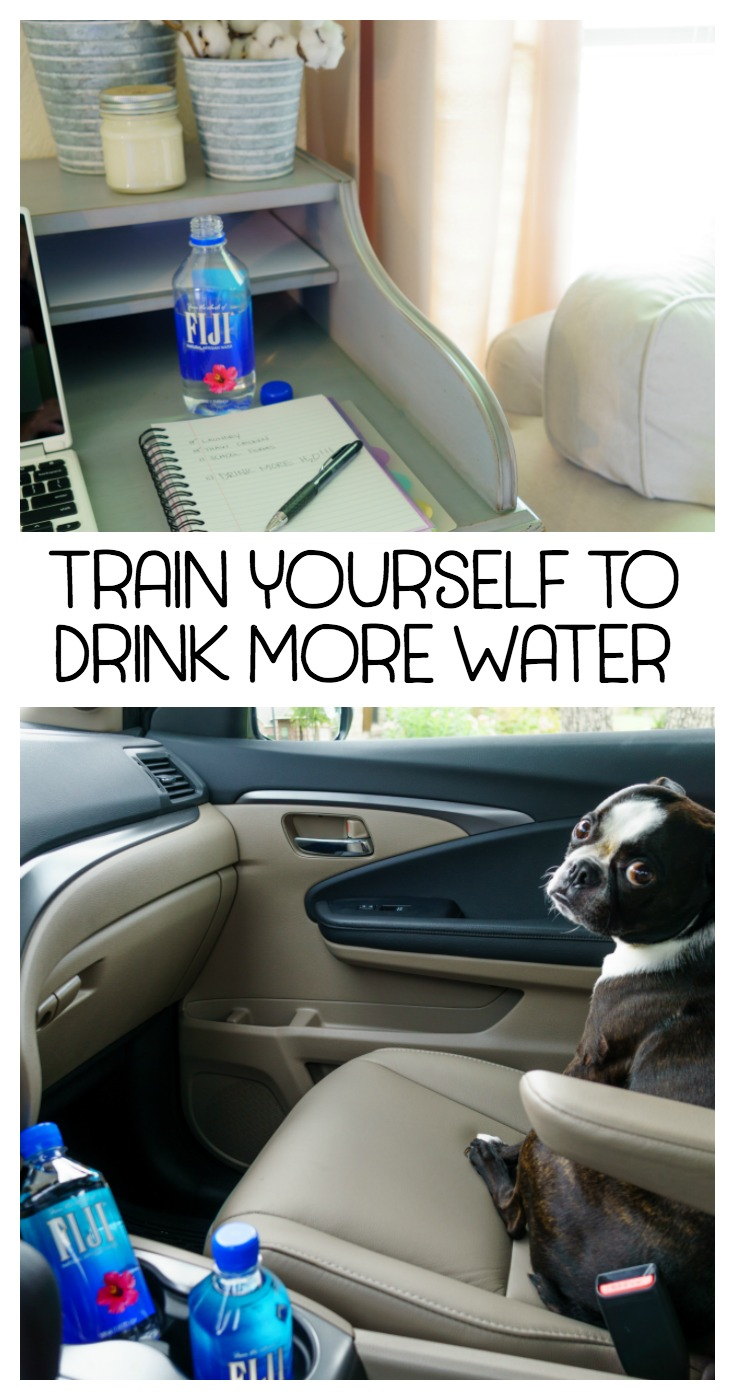 Train yourself to drink more water! Easy to implement tips and tricks to increase your daily water intake. Enjoy the benefits of drinking water! #ad #FIJIWater @FijiWater