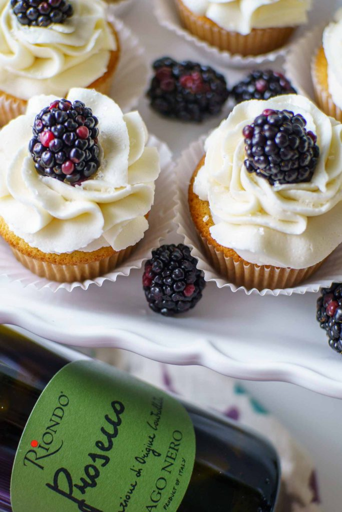 Russian piping tips are used to get this elegant ruffle shape with prosecco frosting