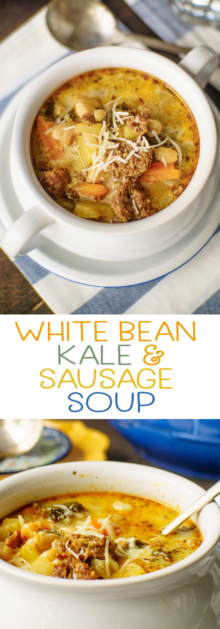Comfort food in a bowl! This white bean kale and sausage soup is a breeze to prepare in your pressure cooker or on your stovetop!