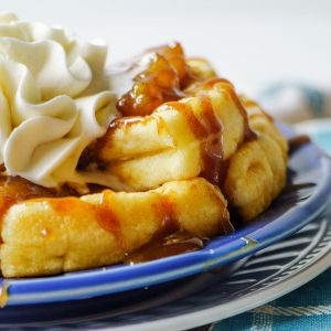 Waffles with Caramelized Bananas