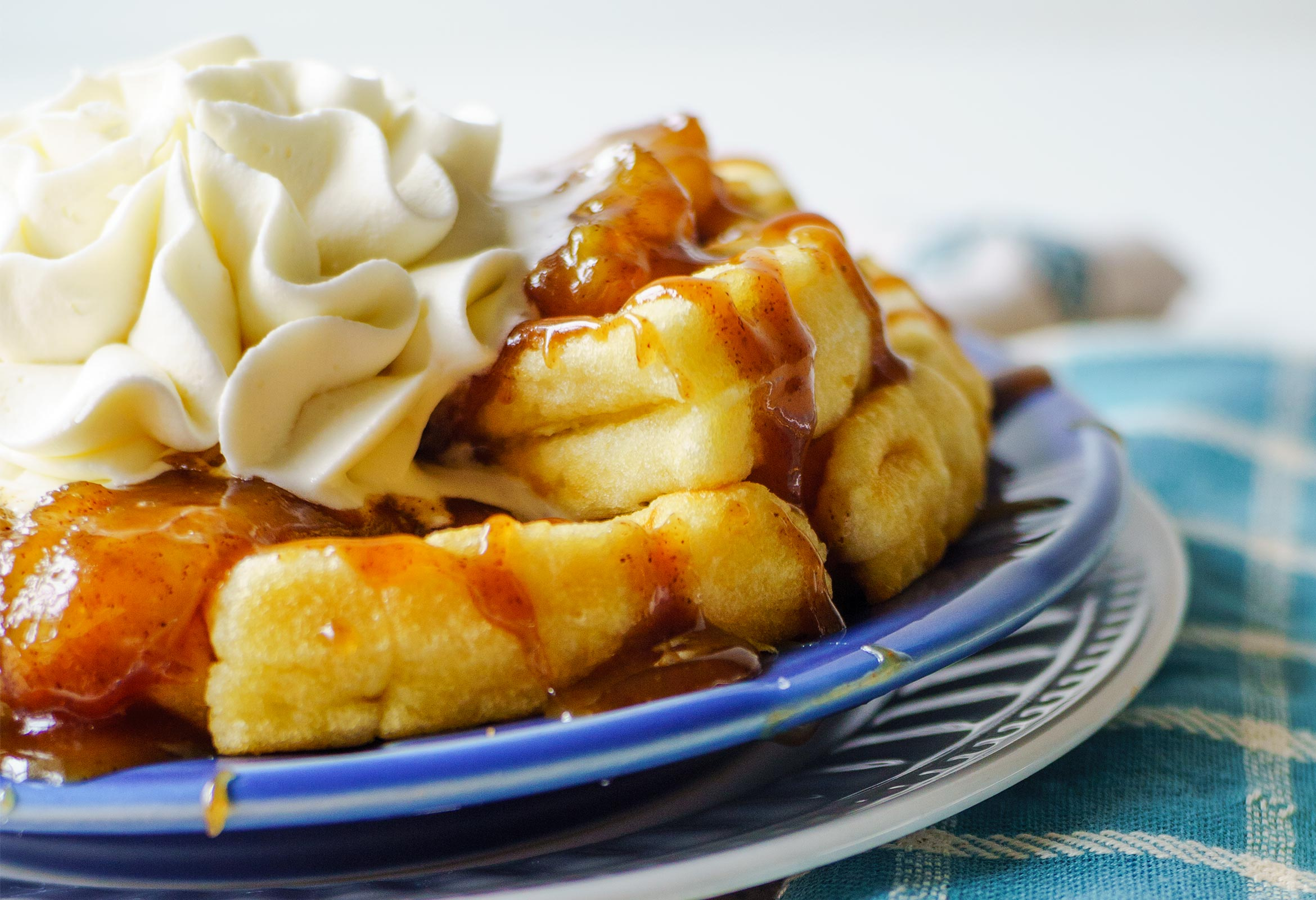 Waffles with Caramelized Bananas