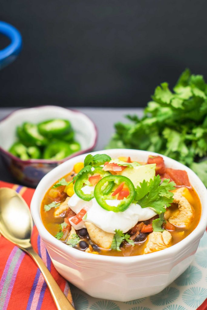 You will adore this chipotle chicken chili! A perfect recipe to warm you up! This chicken chili recipe features chipotle, black beans, corn and spices.