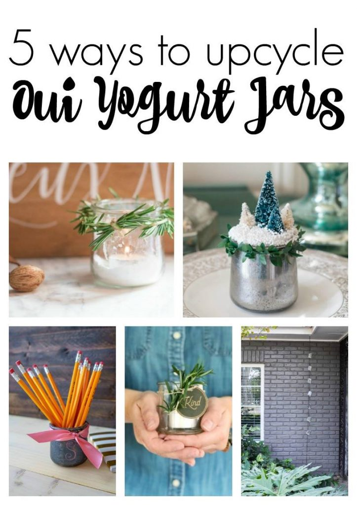 5 ways to epicycle oui yogurt jars. From sea glass, mercury glass, to galvanized metal. Check them all out!