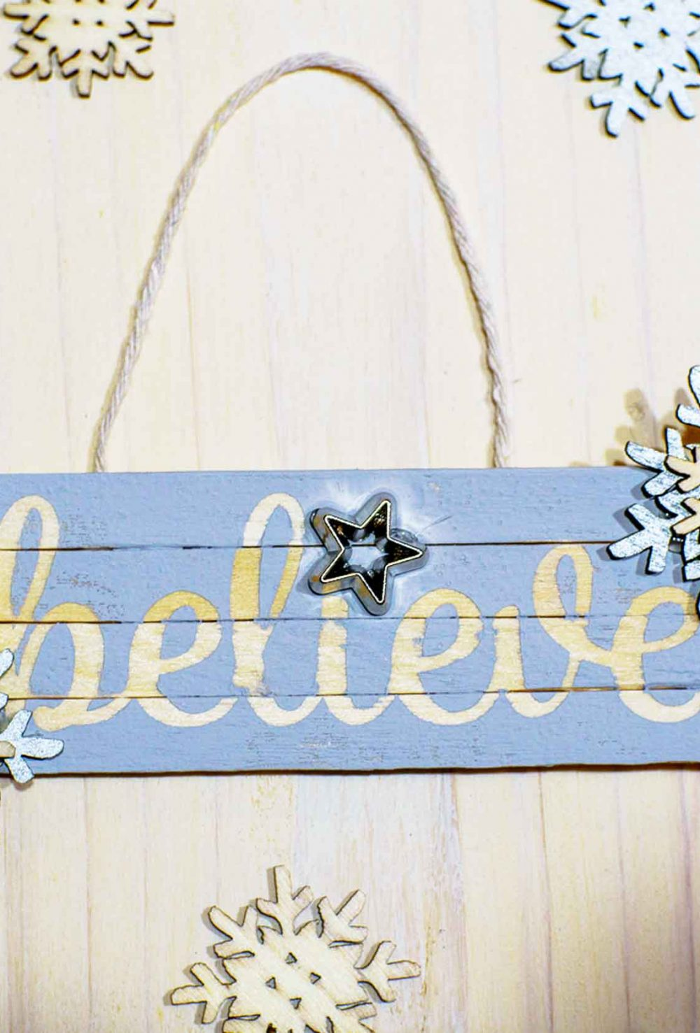 Craft a Believe Ornament that is easy to make with craft sticks and a Cricut Explore Air 2. You'll be amazed how quick they are to make!