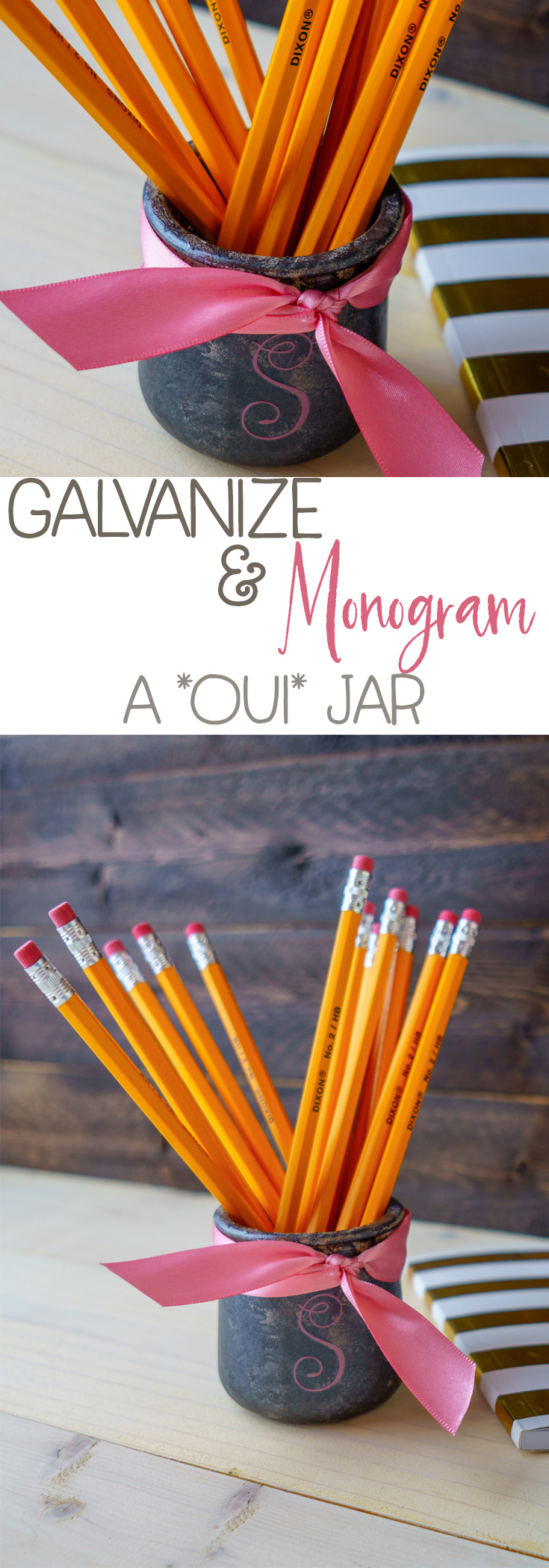 Learn how to DIY the galvanized look on a oui yogurt jar! Customize it by adding a monogram. Super fun and inexpensive craft just in time for the holidays! #ouijars #galvanized #farmhouse #recycle #upcycle #crafts