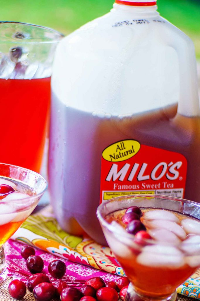 Milo's tea in a fun holiday cranberry cherry punch