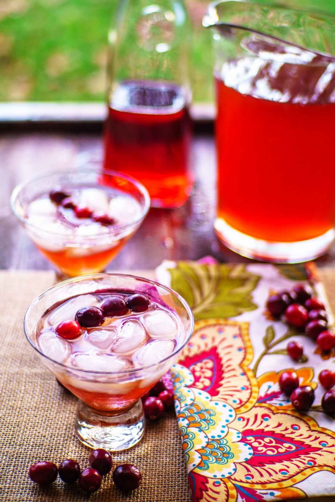 cranberry cherry juice gives this sweet tea its bright colors