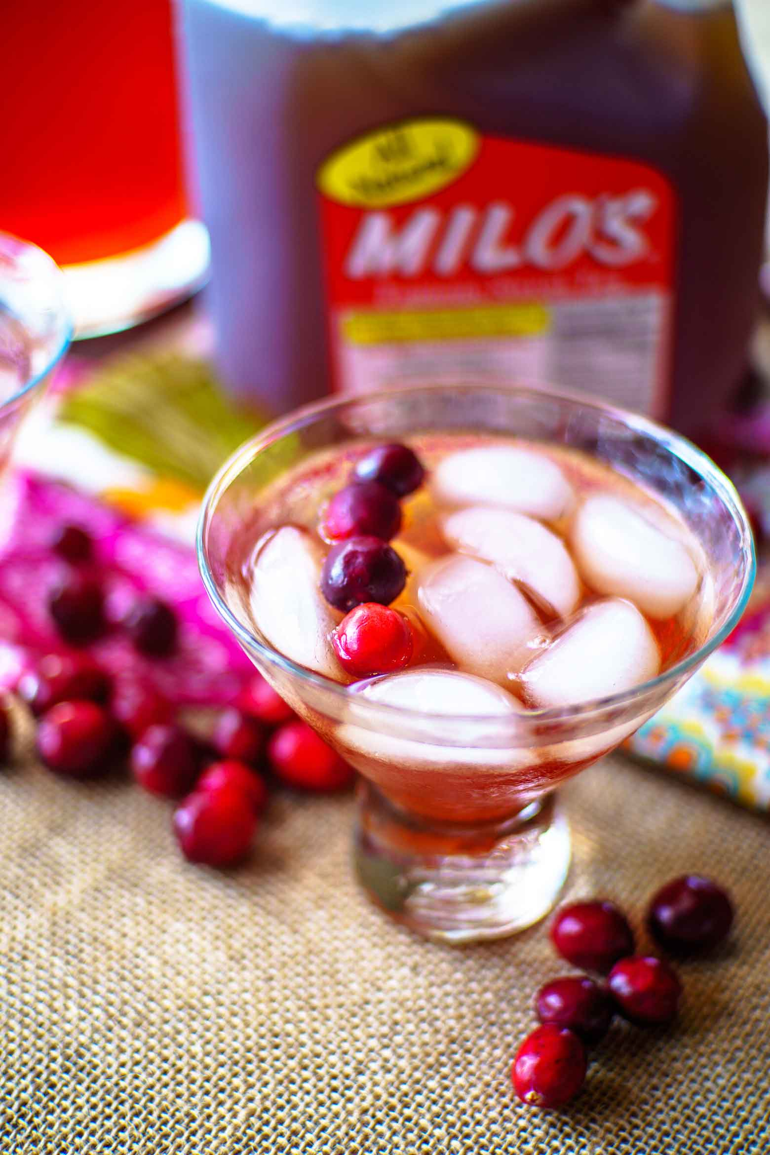 Cranberry tea punch made with Milo's sweet tea