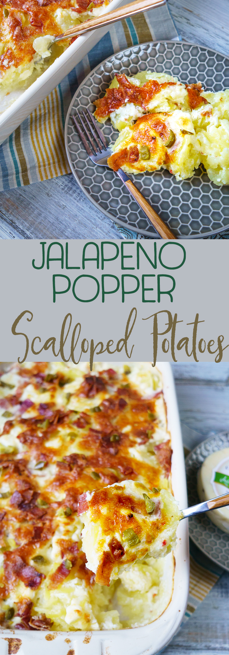 Scalloped potatoes with bacon and jalapenos adds a spicy twist on your favorite creamy and cheesy dish. Features jack cheese, cream cheese, bacon and more! #ad #GreatMidwestCheeses #scallopedpotatoes #potatoesaugratin #bacon