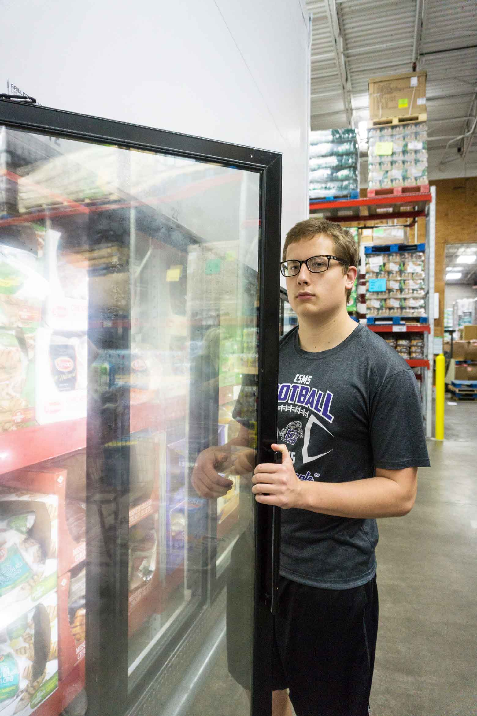 Shopping at Sam's Club with a teenage football player