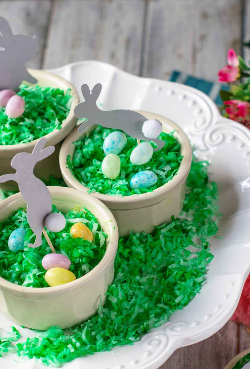 Easter bunny coconut cookie bars in a cup